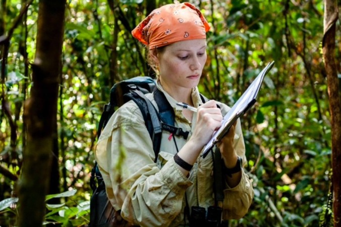 Caitlin O'Connell in the field, Gunung Palung National Park.